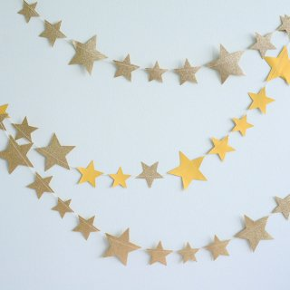 【my mind's eye マイマインズアイ】ゴールドグリッター+イエロー スターガーランド バナー【ペーパーガーランド 大小のお星さまのガーランド  ホームパーティー】(PNP404)