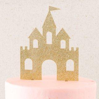 【my mind's eye マイマインズアイ】プリンセスキャッスル ケーキトッパー【ゴールドグリッター お城のトッパー ウエディングケーキ 誕生日】(PNP427)