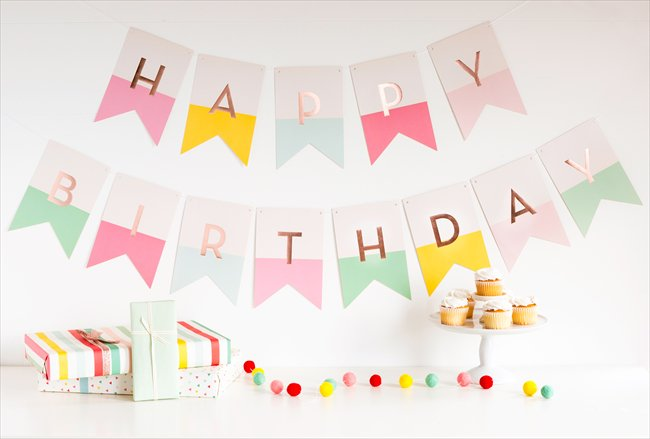 【my mind's eye マイマインズアイ】HAPPY BIRTHDAY  バナー PINK ガーランド 女の子【文字色ローズゴールド】(HRP404)
