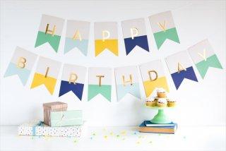 【my mind's eye マイマインズアイ】HAPPY BIRTHDAY  バナー GREEN ガーランド 男の子【文字色ゴールド】(HRP403)