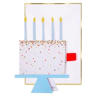 【MeriMeri メリメリ】HAPPY BIRTHDAY ケーキ バースデイカード【カード 手紙 グリーティングカード 誕生日 メッセージ 飾れる】(16-0201H)