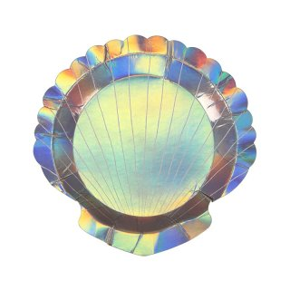 【Meri Meri メリメリ】貝殻の形をしたスモールプレート 8枚入り【キラキラ ホログラムフォイル マーメイド 人魚 人魚姫 プリンセス 海】(45-2731)