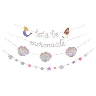 【Meri Meri メリメリ】人魚姫ガーランド Lets be mermaids 4デザイン【キラキラ マーメイド プリンセス 人魚 貝殻 スター】(45-2733)
