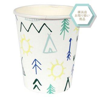 【Meri Meri】explore cup キャンプ柄 パーティーカップ 12個入り【イラスト カラフル 紙コップ】(45-2779)