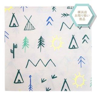 【Meri Meri】explore napkin キャンプ柄 ペーパーナプキン 20枚入り【イラスト カラフル 紙ナプキン】(45-2780)