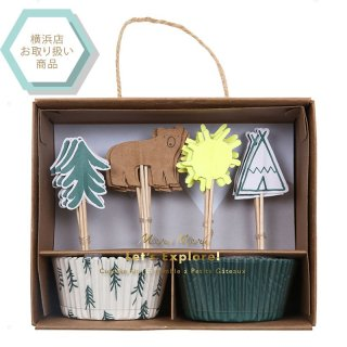 【Meri Meri メリメリ】 explore cupcake kit クマのカップケーキKIT【マフィンカップ パーティーピック キャンプ アウトドア】(45-2782)