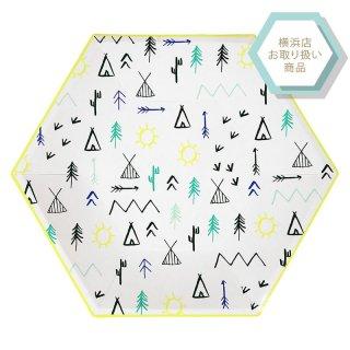【Meri Meri メリメリ】Explore Large Plate ネオンイエロー縁取りのキャンプ柄 ペーパープレート 12枚入り 紙皿(45-2915)