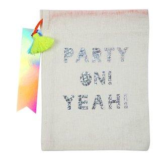 【MeriMeri メリメリ】大粒グリッターのロゴ入り PARTY ON YEAH! タッセル タグ付き パーティーポーチ(44-0159)