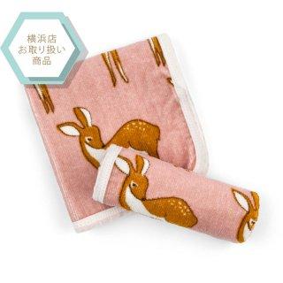 【MILKBARN ミルクバーン】バスクロス同柄2枚セット■小鹿(ピンク)■【オーガニックコットン100%】(25010100)