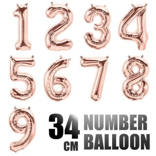 【数字の風船】スモール 34CM ナンバーバルーン 【ローズゴールド】メタリック  誕生日 バルーン 数字 【メール便発送可】