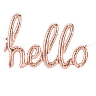 【筆記体文字のフィルム風船】 hello ピンクゴールド スクリプトバルーン カリグラフィ【ハロー バースデイ 記念日 ウェディング】