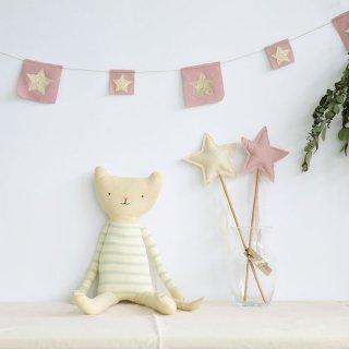 【Meri Meri メリメリ】ねこ 人形 クッションknitted cat【猫 ネコ】【誕生日プレゼント ギフトに】ボーダー アイボリー ぬいぐるみ(30-0042)