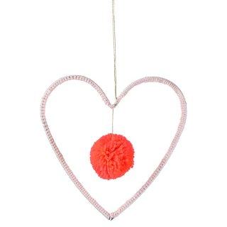 【Meri Meri メリメリ】ハンギングデコレーション ハートのカタチ PINK オーナメント ポンポン【インテリア 装飾 デコレーション お祝い ディスプレイ ワイヤー入り】(30-0047)
