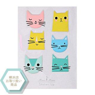 【MeriMeri メリメリ】ねこ柄 デザインのぷっくりステッカー CAT STICKERS ネコ 猫【シール デコレーション ラッピング ギフト 子ども キッズ カラフル】(61-0053)