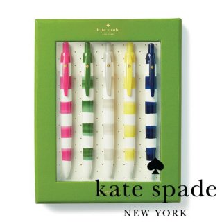 【Kate Spade ケイトスペード】Pen Set Rugby Stripe ボーダー柄 ボールペンセット 5色 5本セット(176030) ◆SALE