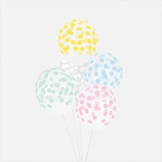 【my little day】バルーン5枚セット パステルミックス コンフェッティ柄【風船 balloon】クリアバルーンにコンフェッティ柄がプリントされたゴム風船