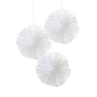 【Talking Tables】オーガンジーのフラワーポム 3個セット チュールポンポン/ホワイト(WHT-TULLEPOMPOM) トーキングテーブルス