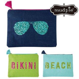 【Mud Pie】スパンコール ロゴ入り クラッチバック ポーチ【BIKINI サングラス BEACH】