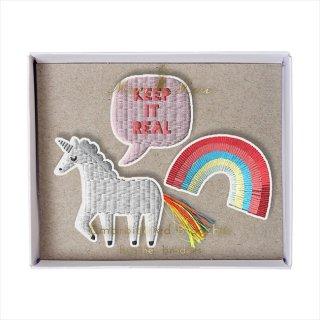【Meri Meri メリメリ】刺繍ブローチ 【Unicorn・ユニコーン・レインボー】