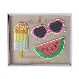 【Meri Meri メリメリ】刺繍ブローチ 【Summer・アイス・スイカ・サングラス】