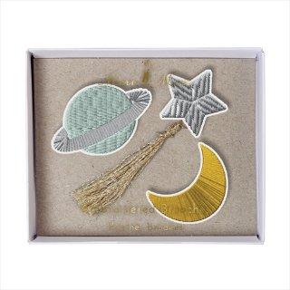 【Meri Meri メリメリ】刺繍ブローチ 【Space・宇宙・月・星】 (50-0113)