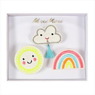 【Meri Meri メリメリ】刺繍ブローチ 【Weather・太陽・クラウド・レインボー】