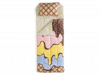 SALE◆【SACK ME サックミー】寝袋 シュラフ 封筒型 sleeping bag トリプルサンデー アイスクリーム柄 キッズ用