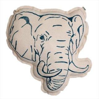 【Numero74 ヌメロ】アニマル刺繍クッション【ゾウ・象】 ◆SALE