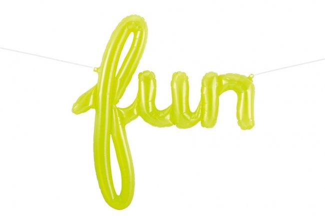 【筆記体文字のフィルム風船】 fun 「クリアイエロー」 スクリプト バルーン【結婚式 バースデイ 誕生…
