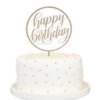 【Alexis Mattox Design】【ケーキトッパー】happy birthday アクリルゴールド サークルデザイン カリグラフィ ミラー加工 (PCT33-G)