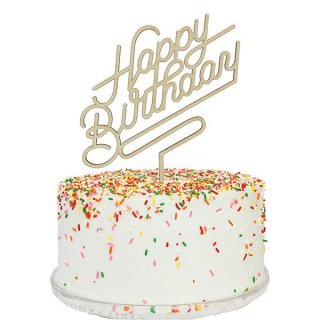 【Alexis Mattox Design】【ケーキトッパー】 Lars Happy Birthday Sign 木製 ハッピーバースデイ (PCT26)
