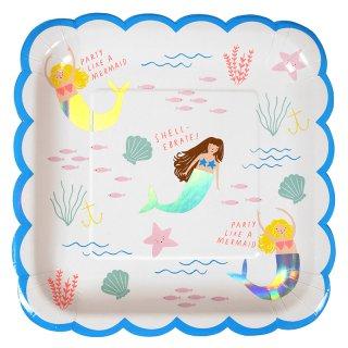 【Meri Meri メリメリ】マーメイドイラストのラージプレート 8枚入り【マーメイド 人魚 人魚姫 イリディセント 海 】(45-2787)