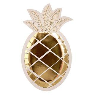 【Meri Meri メリメリ】ゴールドフォイル ダイカット パイナップル プレート 8枚入り【ゴールド 箔プリント 紙皿 ペーパープレート】(45-2075)