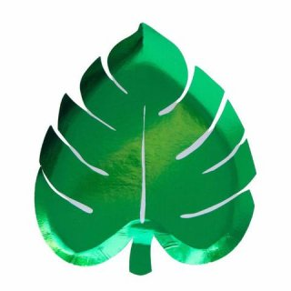 【Meri Meri メリメリ】グリーンフォイル ダイカット パームリーフ プレート 8枚入り【グリーン 箔プリント 紙皿 ペーパープレート】(45-2839)