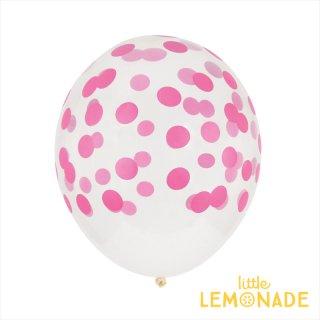 【my little day】バルーン5枚セット ★ホット★ピンク コンフェッティ柄 風船 balloon お誕生日にパーティーにクリアバルーンにコンフェッティ柄がプリントされたゴム風船