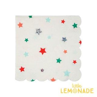 【Meri Meri クリスマス】カラフル&ホログラムの星柄プリント ペーパーナプキン(45-3013)