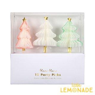 【Meri Meri クリスマス】カラフルツリーのパーティーピック3種セット 12本入り(45-3076)