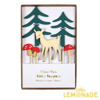 【Meri Meri】ウッドランド ケーキトッパー シカとキノコの森のトッパー 【クリスマス 誕生日 ケーキ Cake Topper 】(45-3002)