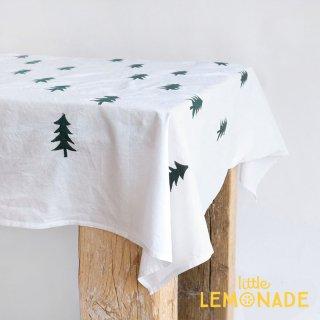 ツリー刺繍のテーブルクロス 110x110センチ 綿 100% テーブルカバー クリスマス (303628)