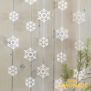 【Ginger Ray】雪の結晶ガーランド スノーフレーク【白 ホワイト ハンギングデコレーション バナー デコレーション 飾り付け 装飾】(RC-824)