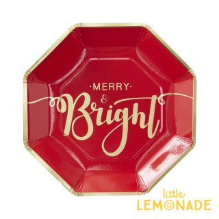 【Ginger Ray】Merry and Bright  ペーパープレート【レッド×ゴールド】8枚入り(RG-304)