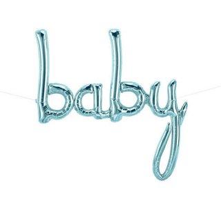 【筆記体文字のフィルム風船】baby メタリックブルー スクリプト カリグラフィ バルーン
