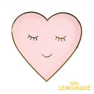 【Meri Meri メリメリ】 BLUSHING まつげ柄 ハート型のペーパープレート 紙皿 ピンク 8枚入り(45-3137)