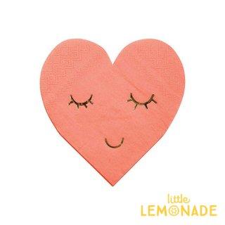 【Meri Meri メリメリ】 BLUSHING まつげ柄 ハート型のペーパーナプキン 紙ナプキン ピンク 16枚入り(45-3138)