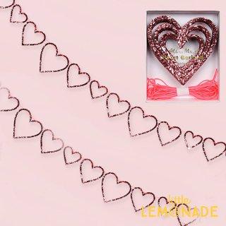 【Meri Meri メリメリ】レッドグリッターのハート型抜きガーランド【バナー 飾り ウェディング バレンタイン パーティー 女の子 誕生日 お祝い バースデイ】(45-3146)