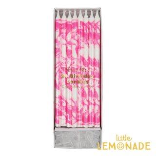 【MeriMeri メリメリ】ロング キャンドル 15cm ピンク マーブル 【PINK  MARBLE CANDLES 24本】 (45-2714)