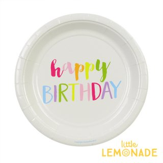 【sambellina】ペーパープレート Rainbow HAPPY BIRTHDAY 紙皿 12枚入り 【パーティー用 ケーキプレート】  誕生日 ホームパーティー 1歳誕生日 (SMCK025)