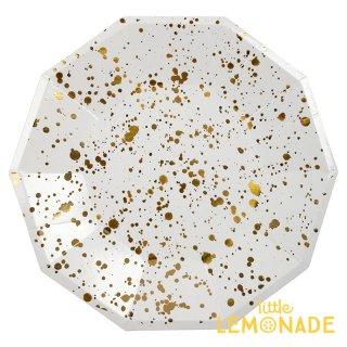 【Meri Meri】 ホワイトxゴールド スパタ しぶき柄 ペーパープレート 8枚入り パーティー用紙皿 ホームパーティー テーブルコーディネート 紙皿(45-3312/168742)