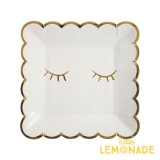 【Meri Meri】 BLUSHING まつげ柄 ホワイトxゴールド スクエア ペーパープレート 紙皿 8枚入り パーティー ホームパーティー 誕生日(45-3366/170020)