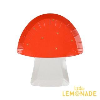 【Meri Meri】 赤いキノコのダイカット ペーパープレート 紙皿 8枚入り パーティー ホームパーティー 誕生日 バースデイ テーブルウェア きのこ(45-3356/169930)